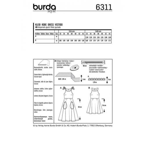 Patron Burda 6311 : Robe Taille : 32-44