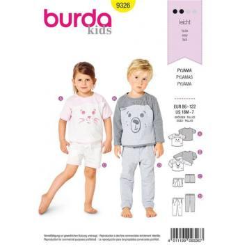 Patron Burda 9326 : Pyjama Taille : 86-122 cm