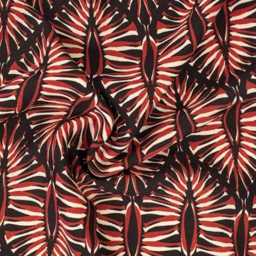 Tissu viscose noir motif formes géométriques végétales bordeaux et beiges