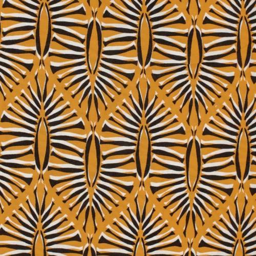 Tissu viscose noir motif formes géométriques végétales ocre et blanches