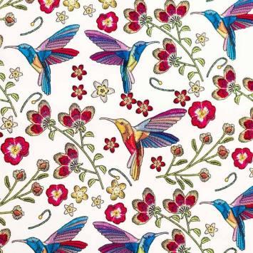 Simili cuir écru motif colibri et fleur effet brodé
