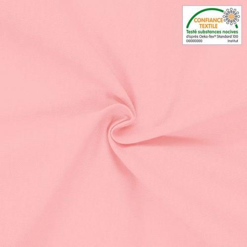 Toile coton rose poudré oeko-tex grande largeur