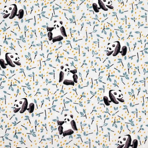 Coton gris perle imprimé panda