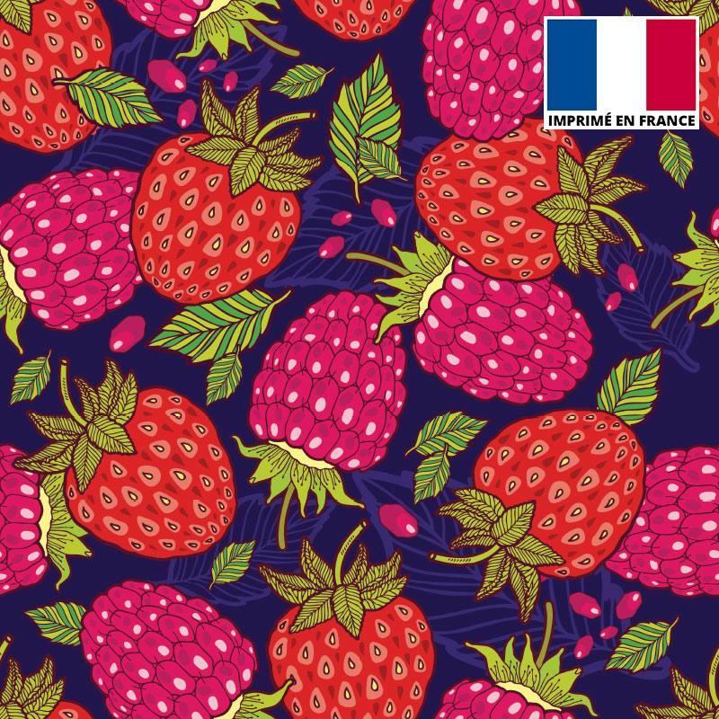 Satin bleu marine motif fraise et framboise
