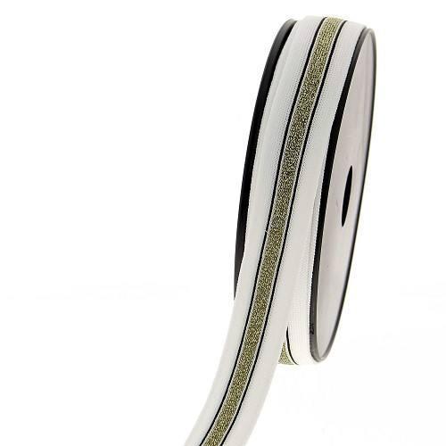 Ruban maille décoratif blanc et doré métallisé