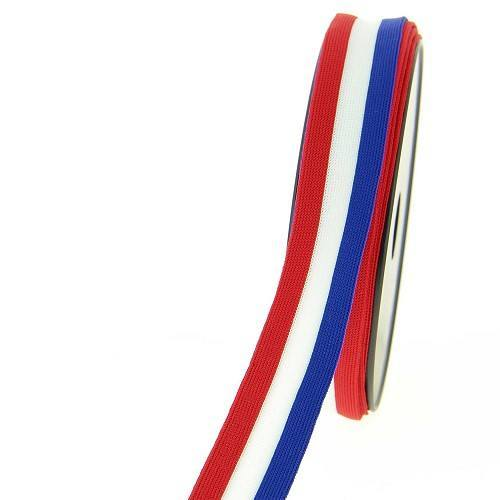 Ruban maille décoratif bleu blanc rouge