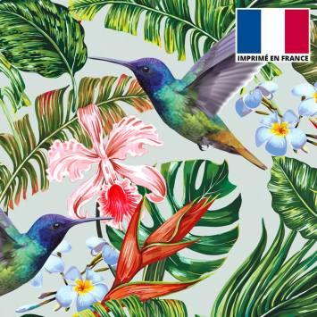 Velours ras gris perle imprimé jungle et oiseau