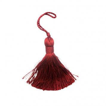 Pompon déco brillant rouge 9 cm