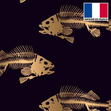 Satin noir motif squelette de poisson doré