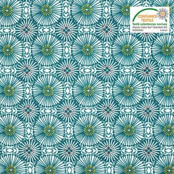Coton enduit blanc motif womby bleu pétrole