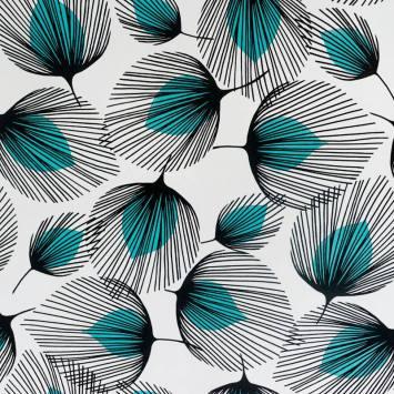 Toile cirée blanche motif feuille palmier noire et turquoise