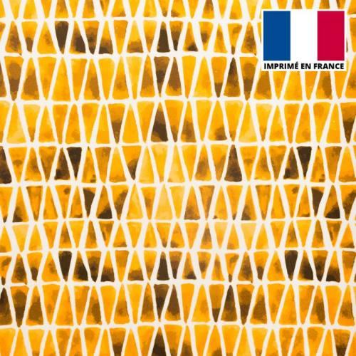 Velours ras imprimé aquarelle triangle ocre