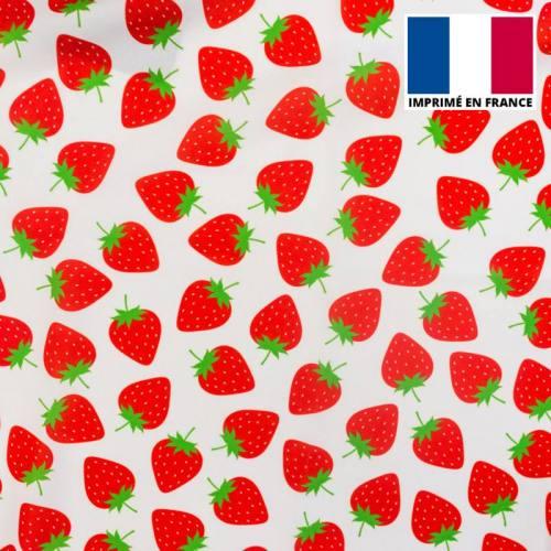 Tissu Burlington imprimé fraise dessin