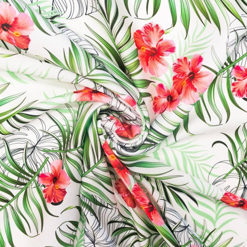 Satin imprimé jungle et fleur d'hibiscus