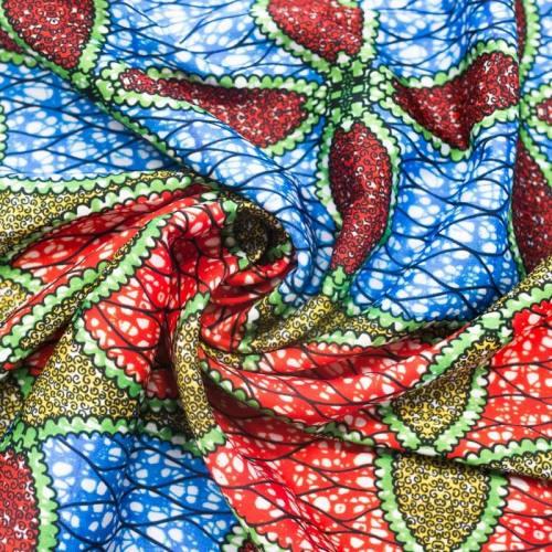 Satin rouge et bleu imprimé wax rosace