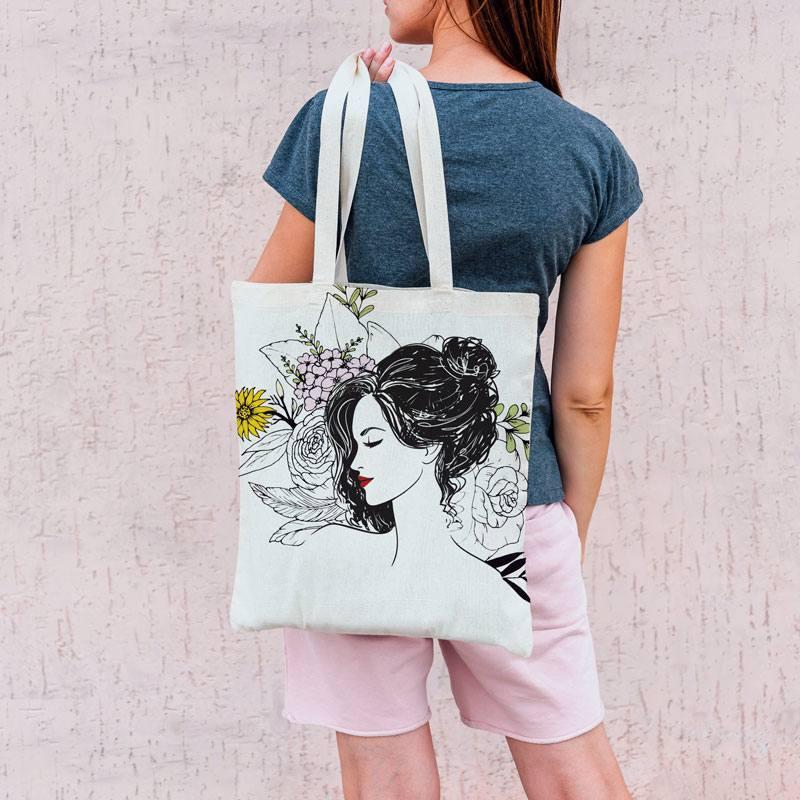 Coupon 45x45 cm toile canvas femme et fleurs