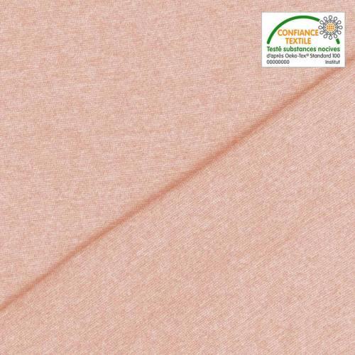 Tissu tubulaire bord-côte uni rose clair