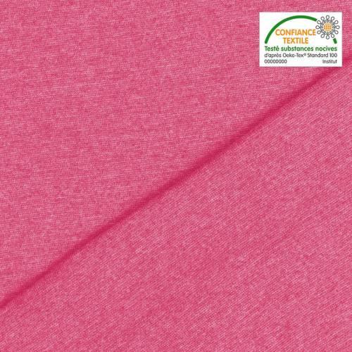 Tissu tubulaire bord-côte chiné rose fuchsia