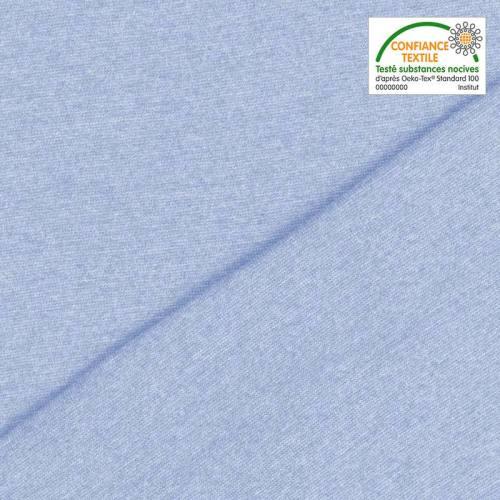 Tissu tubulaire bord-côte chiné bleu clair