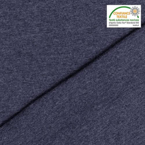 Tissu tubulaire bord-côte chiné bleu foncé
