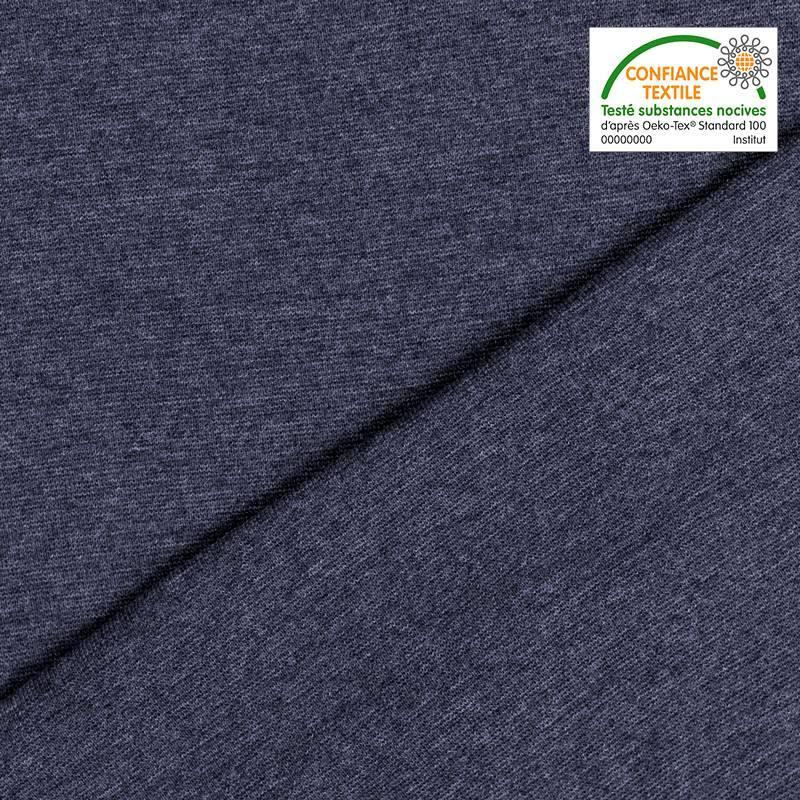 Tissu tubulaire bord-côte uni bleu foncé