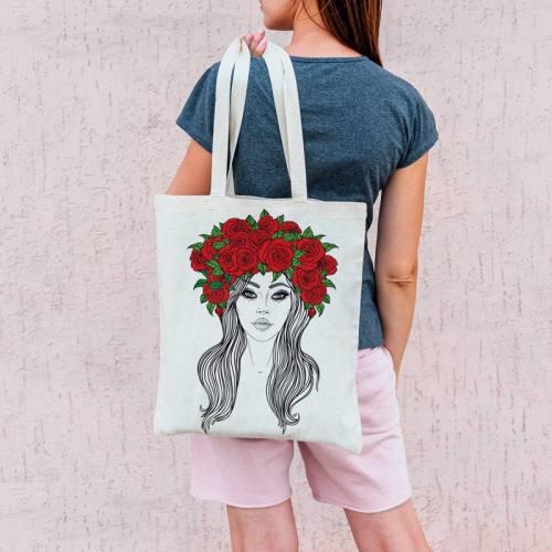 Coupon 45x45 cm toile canvas couronne de fleurs