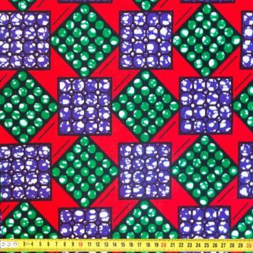 Wax - Tissu africain rouge motif carré vert et violet 330