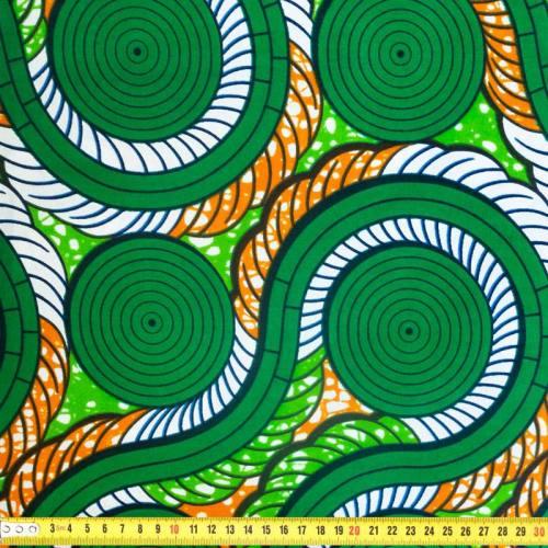 Wax - Tissu africain motif spirale verte et orange 346