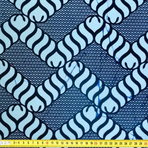 Wax - Tissu africain bleu motif corde 331