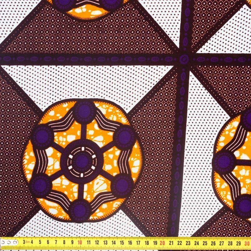 Wax - Tissu africain motif rond et carré 365