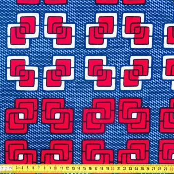 Wax - Tissu africain bleu motif géométrique framboise et blanc 340