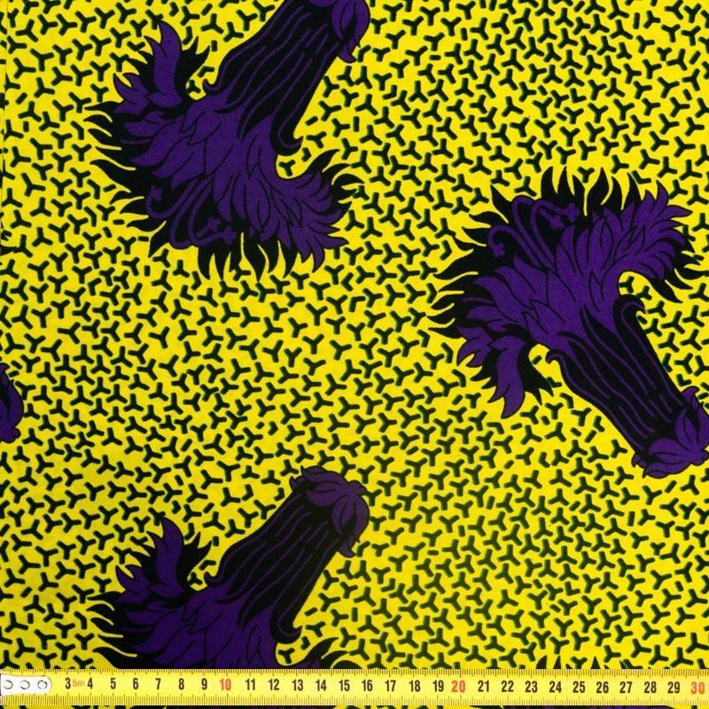 Wax - Tissu africain jaune motif fleur violette 328