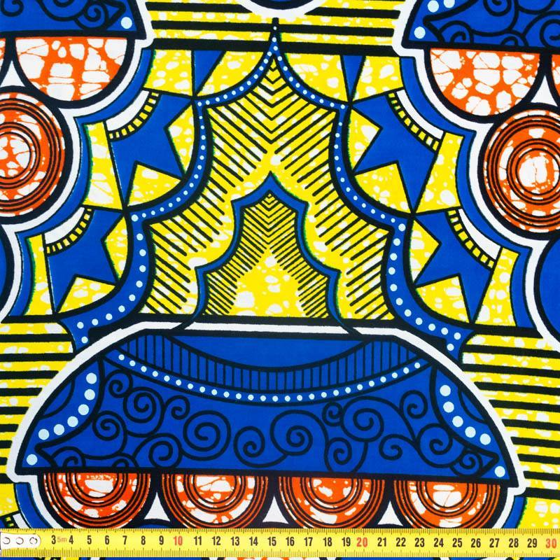 Wax - Tissu africain motif bleu jaune et orange 345