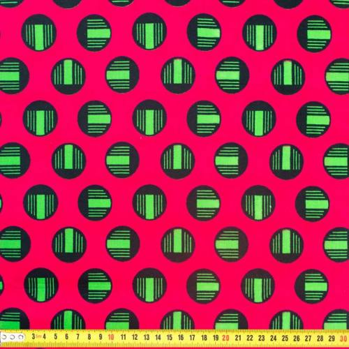 Wax - Tissu africain rose motif rond vert et noir 336