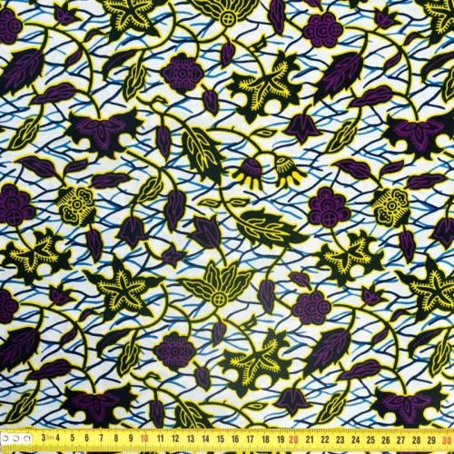 Wax - Tissu africain motif floral jaune et violet 333