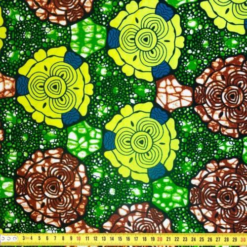 Wax - Tissu africain motif rond géométrique vert et marron 360