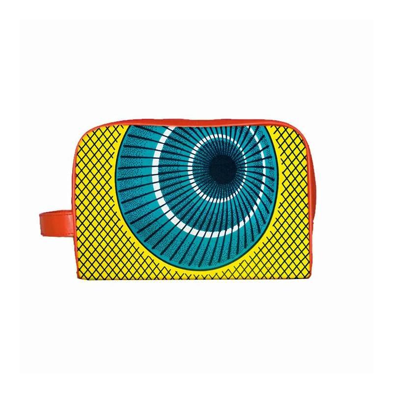 Wax - Tissu africain jaune motif losange et cercle 347