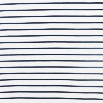 Punto milano blanc rayé bleu marine