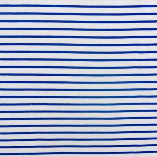 Jersey viscose blanc rayé bleu marine