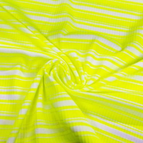 Jersey blanc côtelé rayé jaune fluo