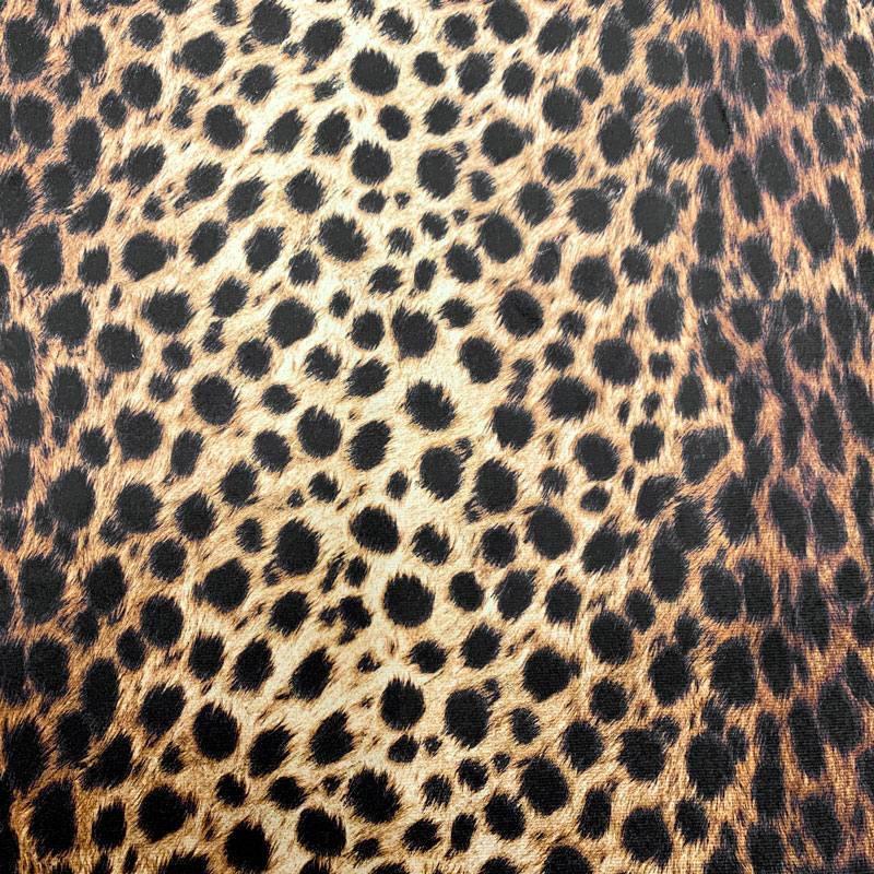 Velours ras imprimé guépard fauve foncé