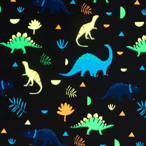 Jersey noir marine imprimé dinosaure fluo
