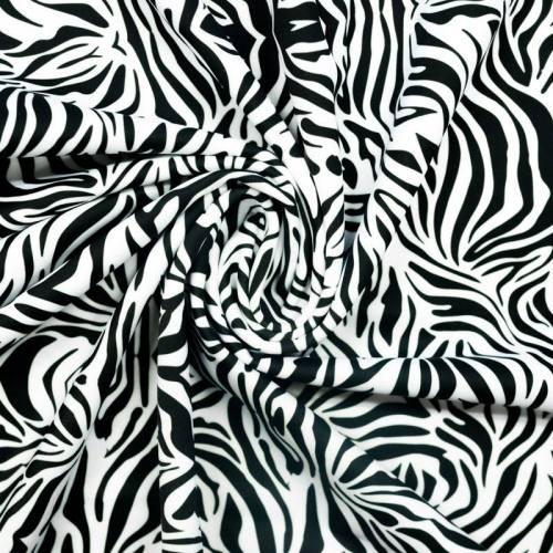 Lycra petit imprimé zèbre blanc et noir