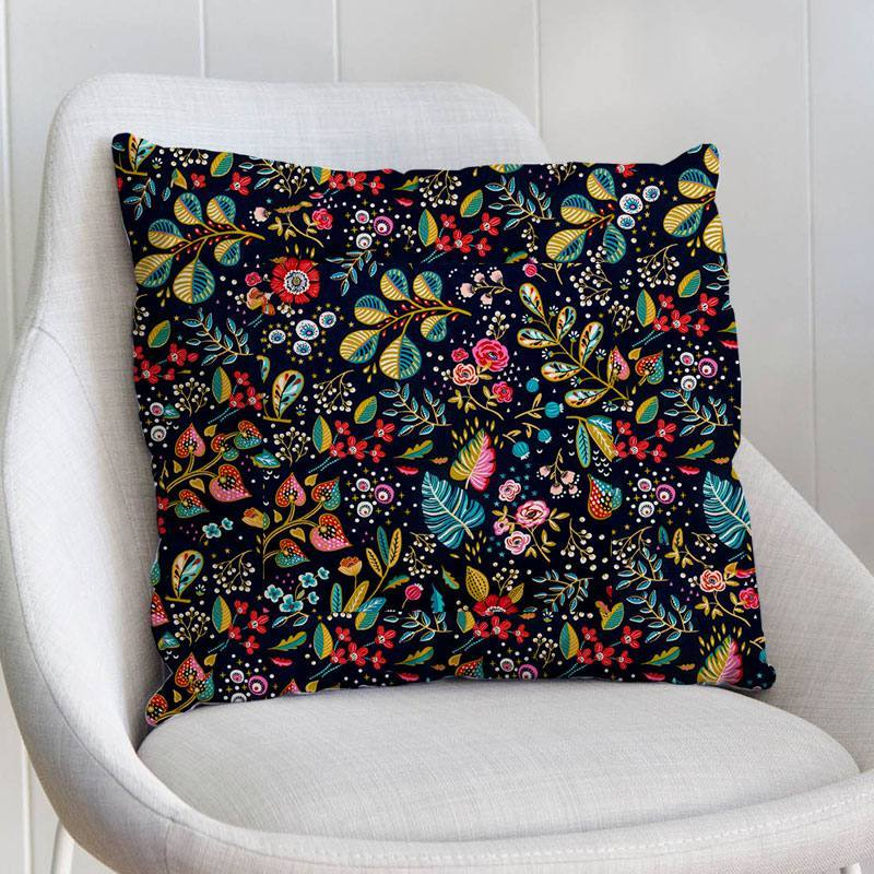 Coton ardoise motif fleur multicolore