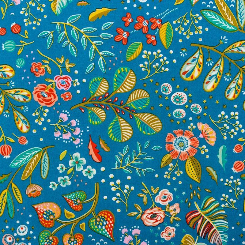 Coton bleu motif fleur multicolore