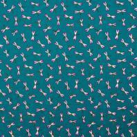 Coton bleu canard motif libellule rose
