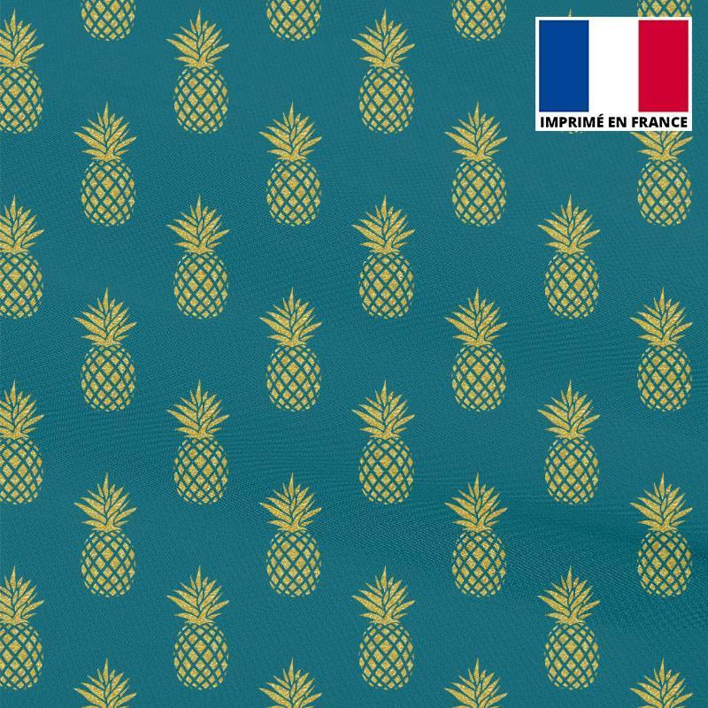 Mousseline crêpe bleu canard imprimée ananas doré