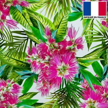Velours ras imprimé fleur et feuille exotique