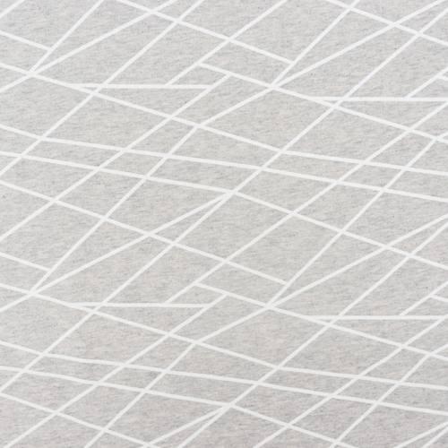 Jersey molleton gris motif géométrique blanc