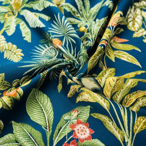 Tissu jacquard bleu paon imprimé singe